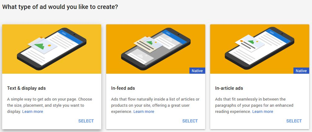 Google AdSense Ad Units options